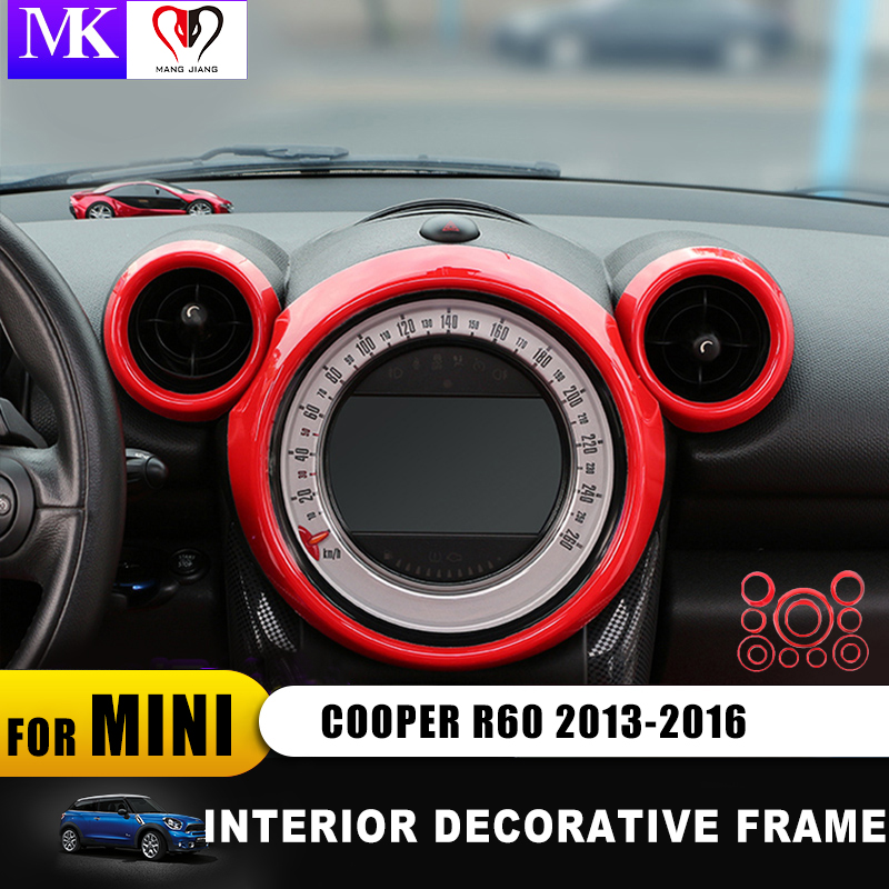 For Mini Cooper Countryman R60 Car Styling Inner Decoration Sticker Rings Center Dash Board L Decoration Circle Cover (8pcs/set)