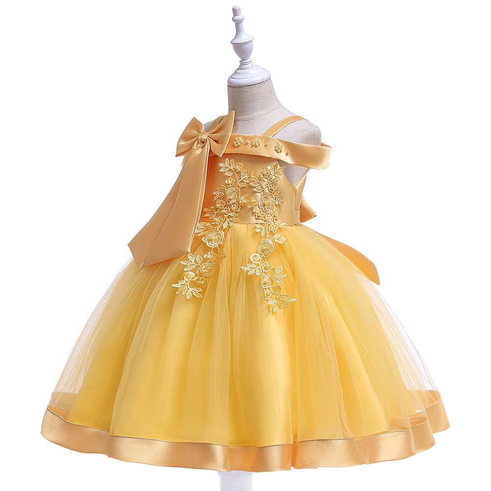 Hot Selling GIRL'S Gown New Style INS Off-Shoulder Formal Dress Princess Dress Bow Beads Wedding Dress