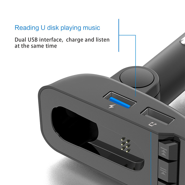 ER9 car Bluetooth kit handsfree FM transmitter wireless Bluetooth headset can detect battery voltage car charger with headphones 5