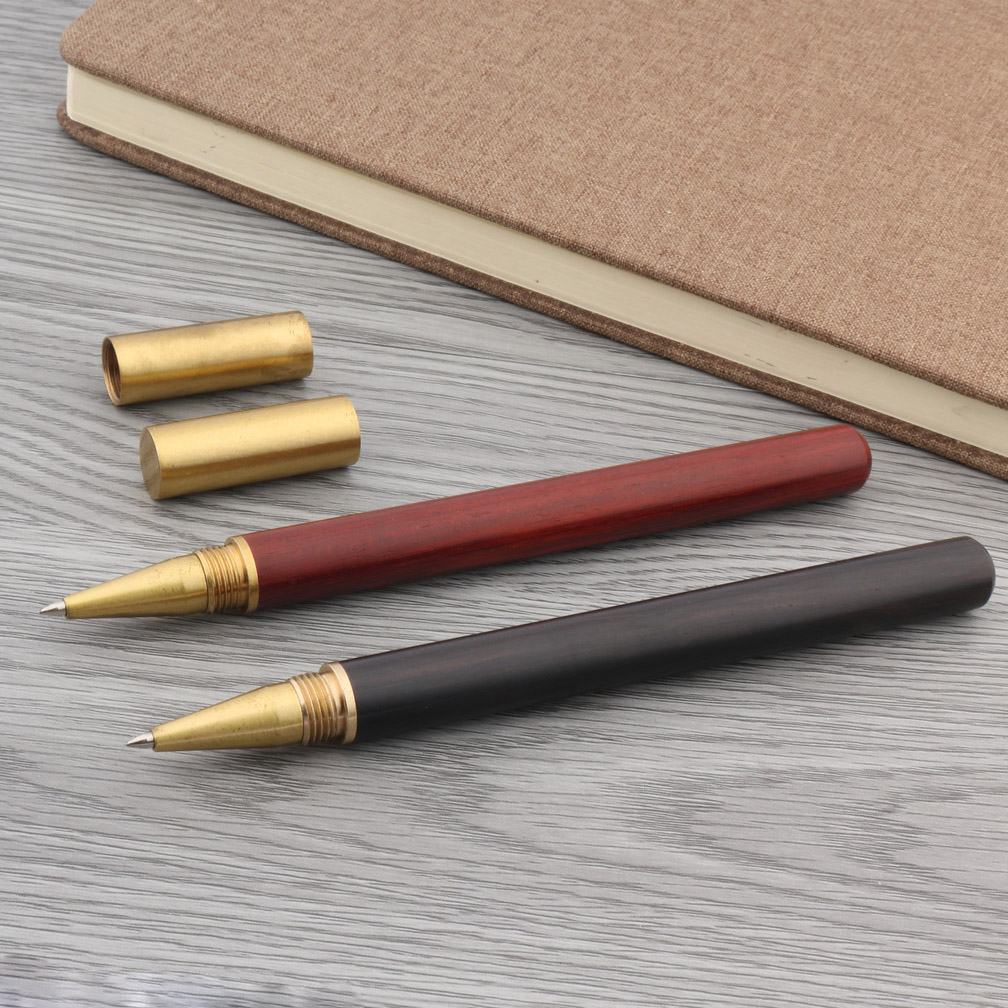 School Brass Pen Brown Red Black New GOLDEN Wood Rollerball Pen