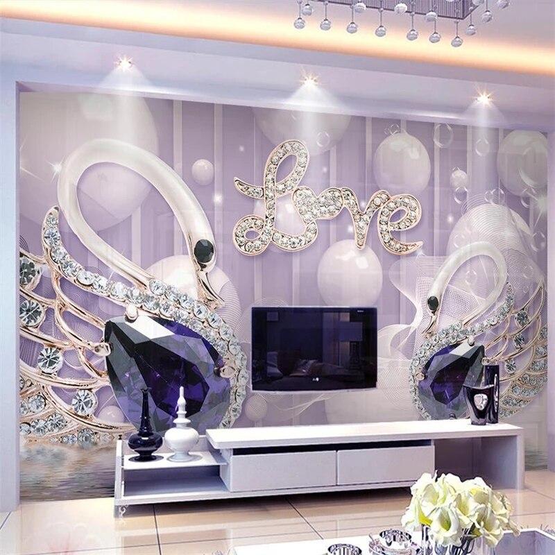 Фотообои на заказ 3D с изображением лебедя и драгоценностей, Декоративные самоклеящиеся обои для дома, 8D водонепроницаемые фрески с кристал...