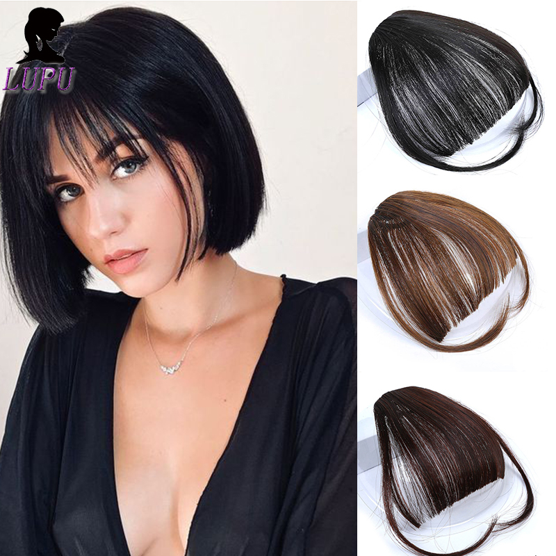 LUPU Synthetic Short Fringe Blunt Fake Bangs Heat Resistant Hairpiece Clip On False Bangs Black Brown Fashion Hair For Women