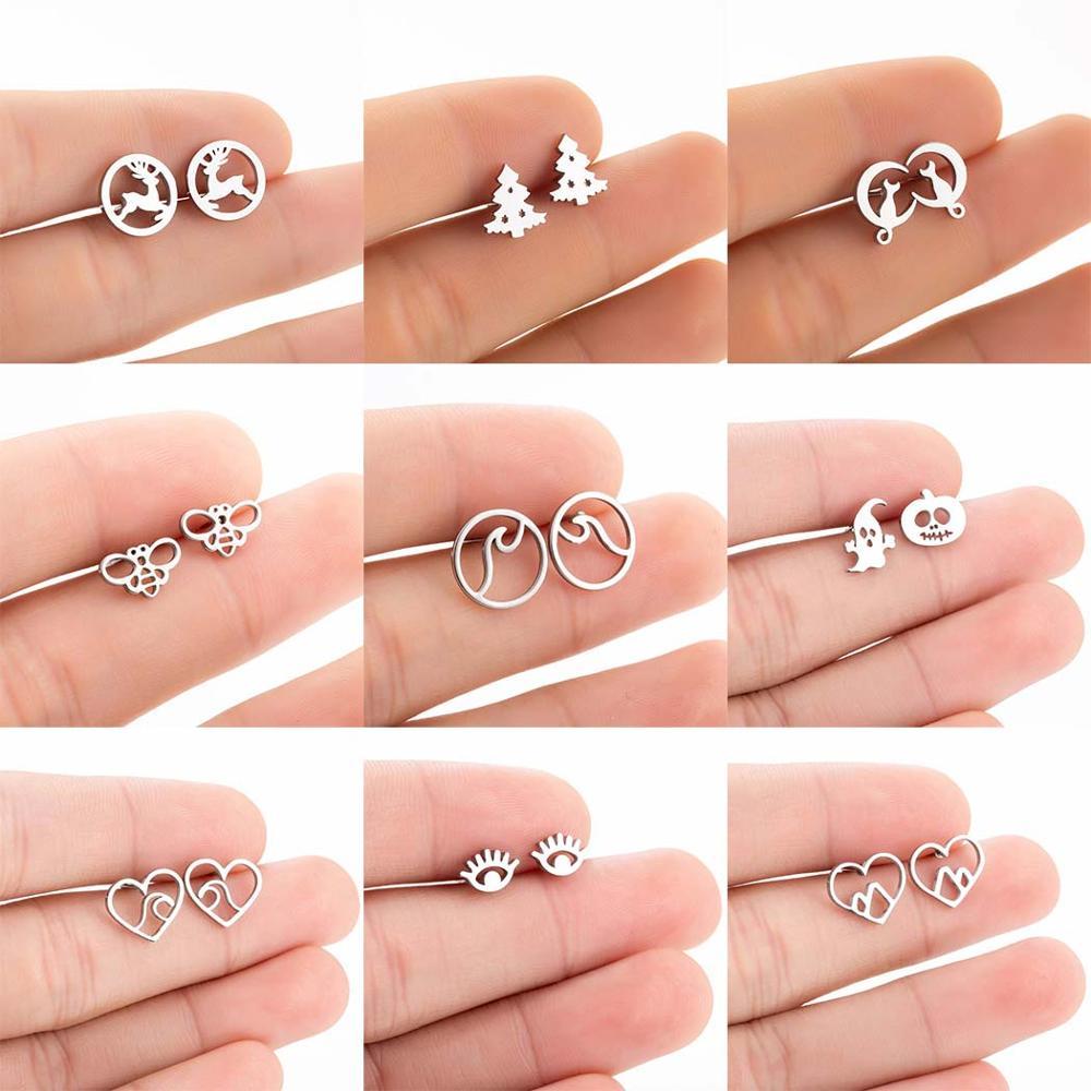 FENGLI Stainless Steel Hollow Heart World Map Earrings For Women Mickey Wave Cat Stud Earring Girls Jewelry Kids Accessories