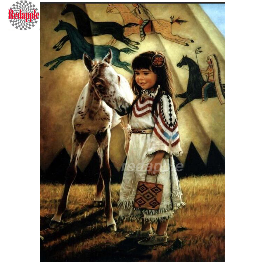 cross-stitch diamond painting Native Indian girl full diamond embroidery square round 3d diy mosaic American diamond girl/horse