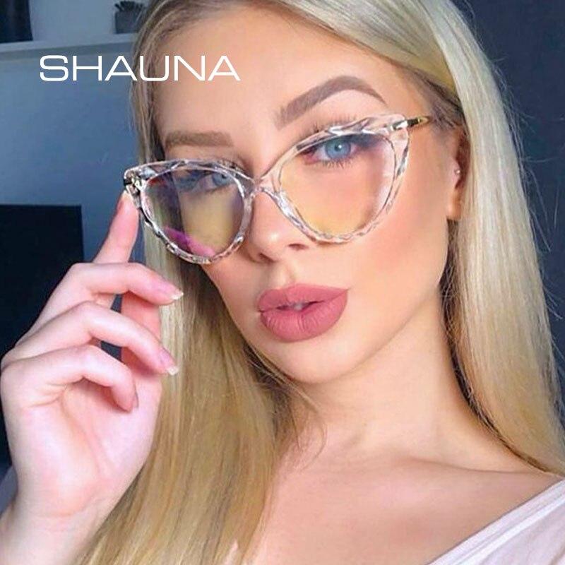 SHAUNA Ins Popular Diamond Faced TR90 Cat Eye Eyeglasses Frame Women Fashion Girl Optical Glasses Frame Spring Hinge
