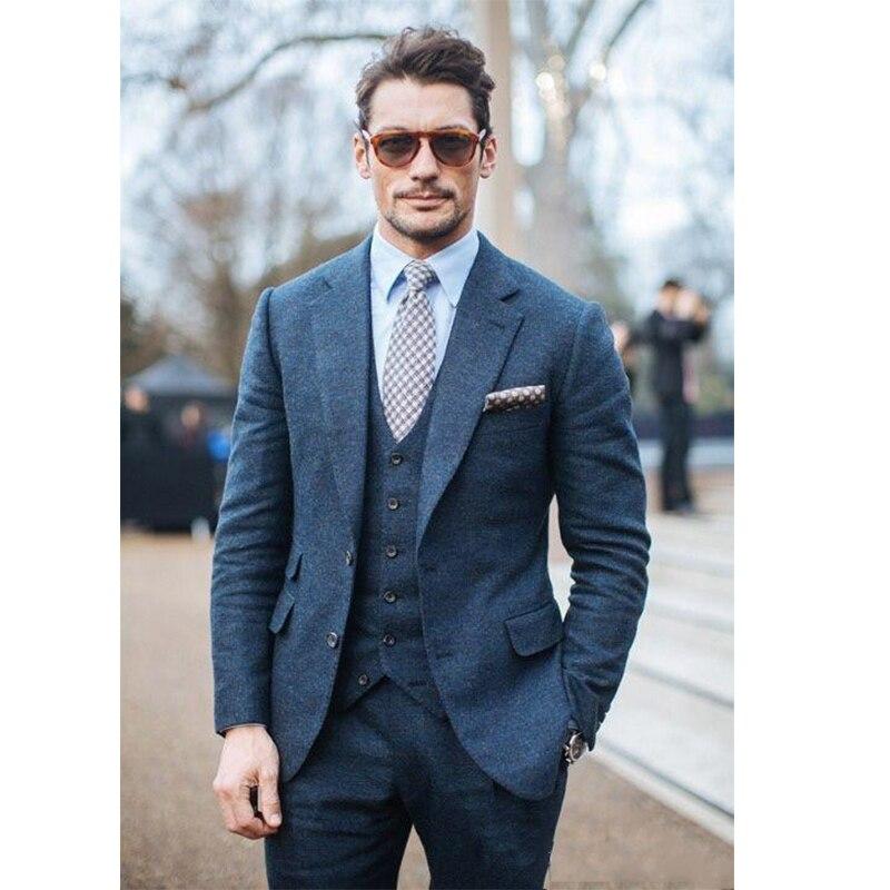 Wedding Tuxedos Slim Fit Suits For Men Groomsmen Suit Three Pieces Harris Tweed Cheap Prom Formal Suits (Jacket +Pants+Vest)