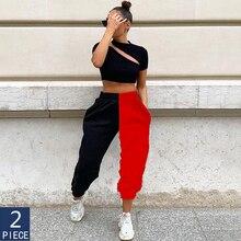 2pcs Woman Pants High Waist Fitness Sweatpants Black&white Patchwork Sporty Harlan Women's Pants Women Wide Streetwear Trousers