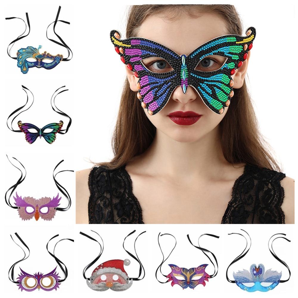 HUACAN 5D Diamant Malerei Spezielle Förmigen Maske Fuchs Schmetterling Pfau Diamant Stickerei Festival Prom Party Maske Weihnachten Geschenk