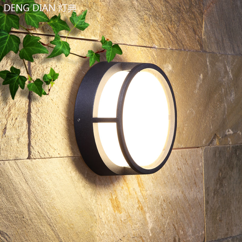 Modern LED Garden wall light waterproof aluminum wall lamp outdoor balcony porch lights round aisle lamps 12W PC diffuser AC220V