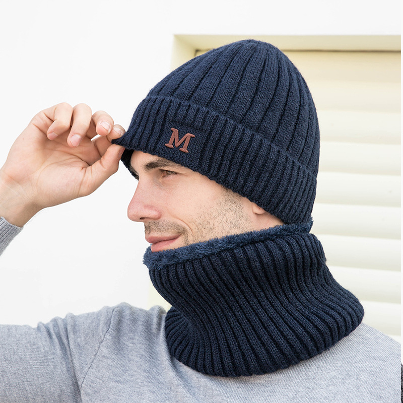 Winter Hats For Men Beanie Cap Wool Thickening Elastic Windbreak Knitted Winter Set Neck Warm Beanie Hat Outdoor Ski