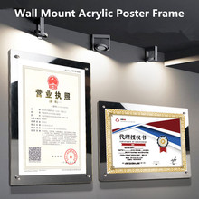 A4 Wall Mounted Glass Picture Photo Frame Show Window Sign Holder Poster Document Display Frame