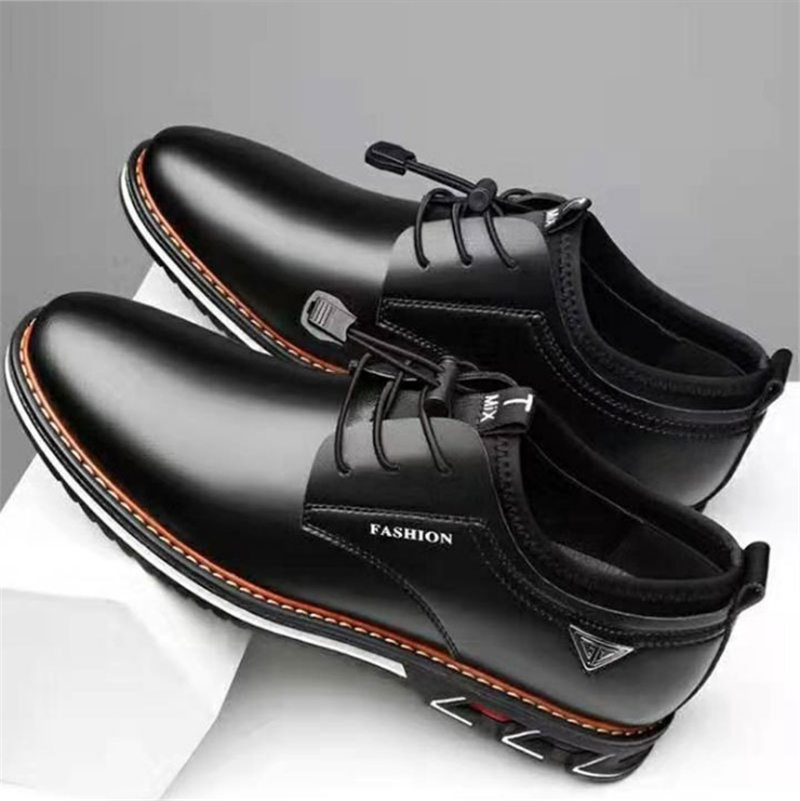 Newest Luxury Pointed Toe Casual Leather Shoes Men's Fashion Lace Up Business Dress Oxfords Solid Wedding Office Males Flats Man (5)