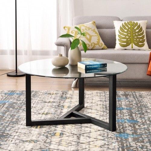 Круглый стеклянный журнальный столик, современный коктейльный столик, легкая сборка, диван-Стол для гостиной с закаленным стеклом, крепкая