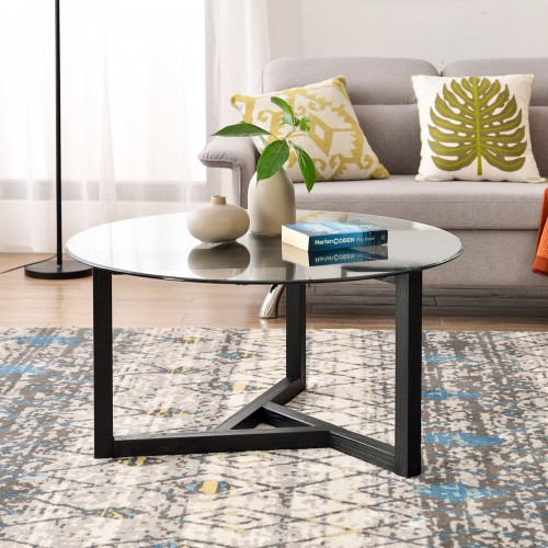 Round Glass Coffee Table Modern Cocktail Table Easy Assembly Sofa Table For Living Room With Tempered Glass Sturdy Wood Base