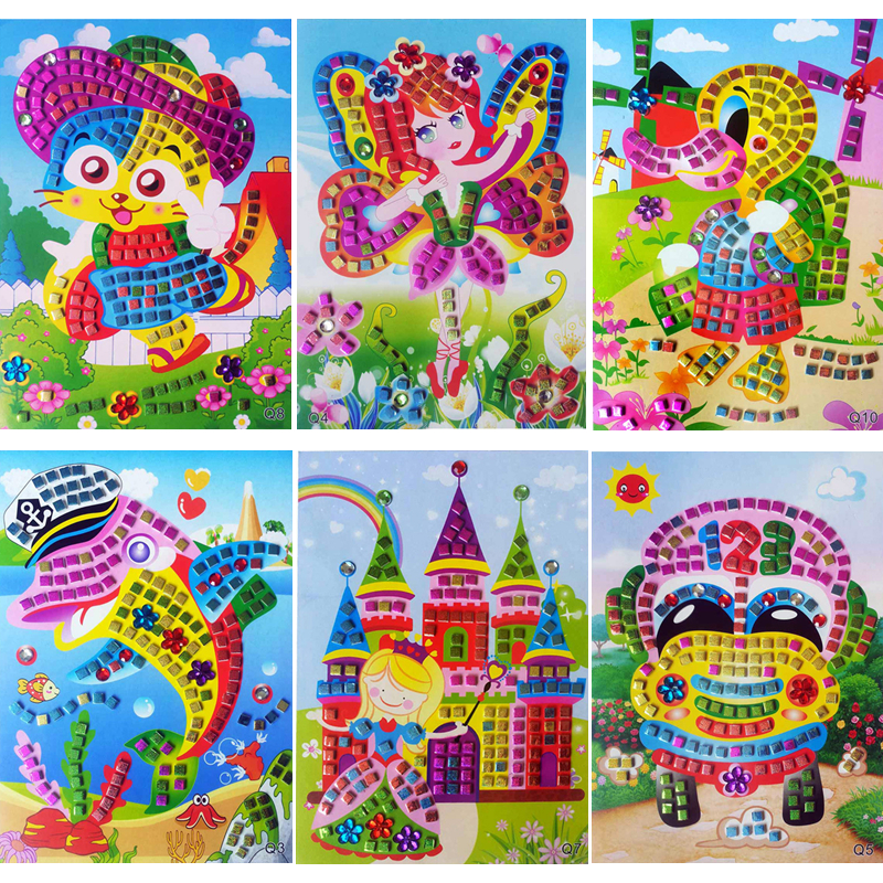 Handmade Children Puzzle EVA Cartoon Animal Crystal Art DIY 3D Foam Stickers Paste Painting Creative Kids Baby Educational Toys