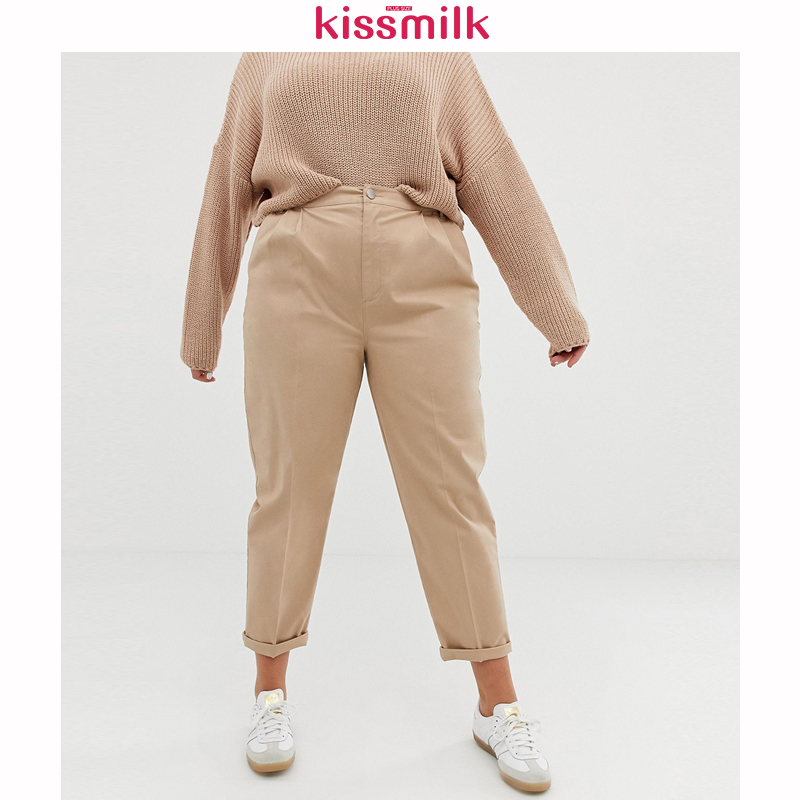 Kissmilk 2020 Womens New Fashion Summer Spring Pocket Plus Size Casual Style High Waist Solid Color Vintage Straight Pants