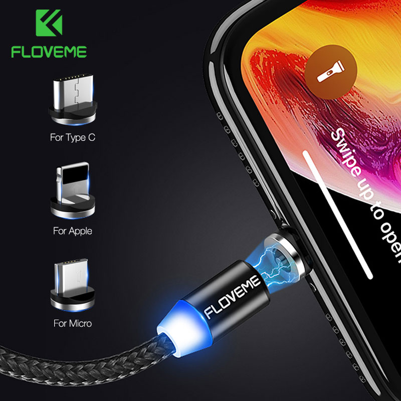 FLOVEME 1M Magnetic Charge Cable , Micro USB For iPhone XR XS Max X Magnet Charger Type C LED Charging Wire Cord