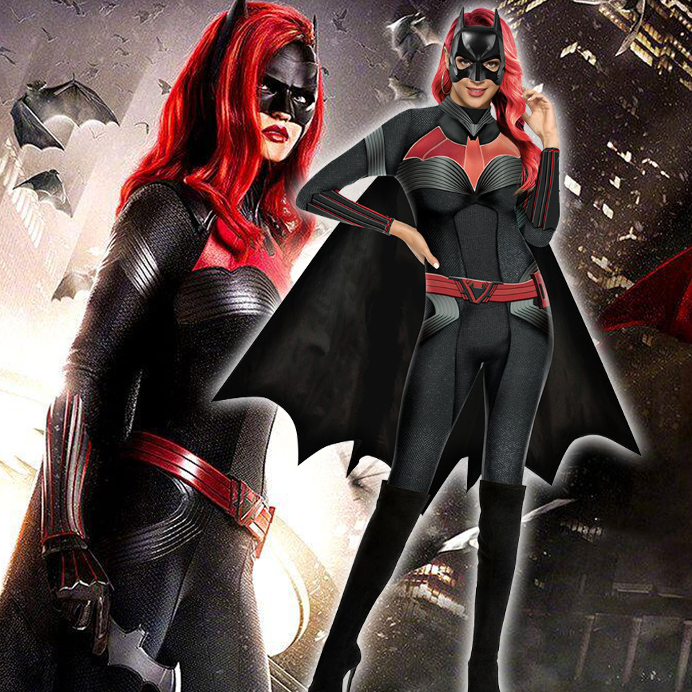 Color Cosplayer Batwoman Cosplay Costume Movie Superhero Cosplay Clothing Sets Long Sleeve Purim Clothing Bodysuit Sexy Red Hair