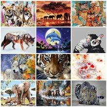 AZQSD животные картина маслом по номерам для взрослых краски по номерам холст картины наборы 50x40 см DIY подарок домашний декор