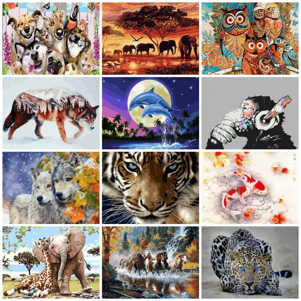 AZQSD Animals Oil Painting By Numbers For Adults Paints By Number Canvas Painting Kits 50x40cm DIY Gift Home Decor(China)