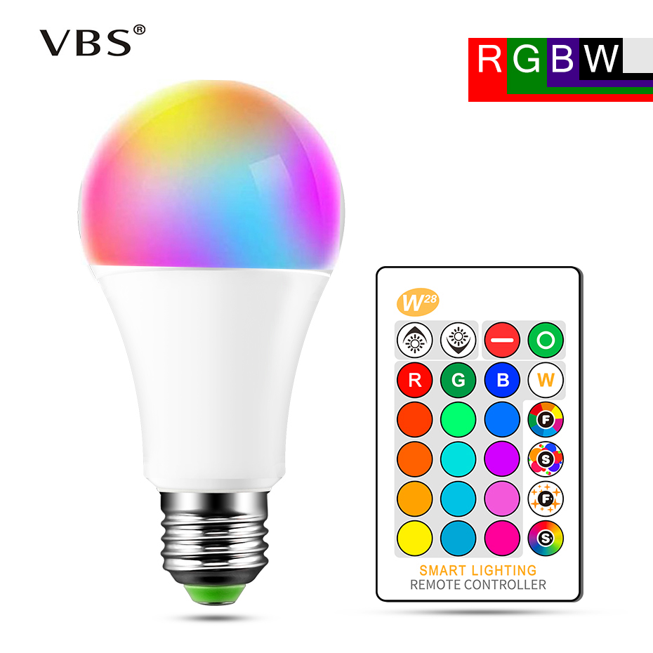 E27 LED Bulb Lamp 5W 10W 15W RGB + White 16 Color LED Lamp SMD5050 +  SMD2835 Changeable RGB Bulb Light With Remote Control