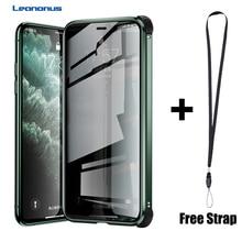 Manyetik temperli cam gizlilik silikon kenar darbeye dayanıklı iphone için kılıf 11 Pro XS MAX X XR iphone için kılıf 6 6S 7 8 artı kapak