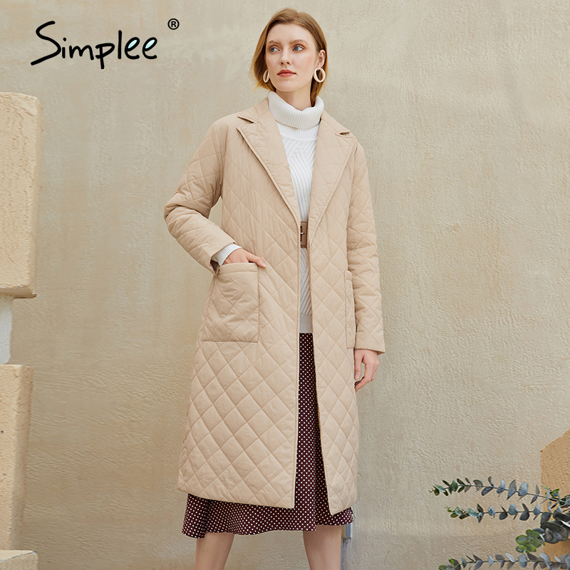 Simplee Fashion female winter windproof jacket Casual sashes women winter parka Long straight coat with rhombus