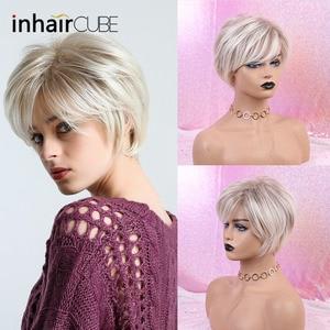 Image 3 - Inhaircubeショートヘアナチュラル前髪ピクシーカットハイライト合成ショートストレート散髪白人女性のための