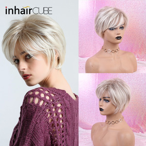 Image 3 - Inhaircube קצר שיער פאה עם פוני טבעי פיקסי לחתוך עם הבהרה סינטטי קצר ישר תספורת לבן נשים