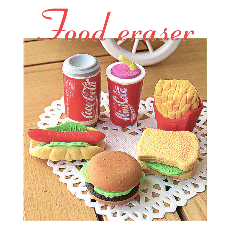 Food Modeling Eraser Cola Burger Eraser Creative Kawaii Stationery School Supplies Children Gift Rubber Pencil Eraser FANTASTIC