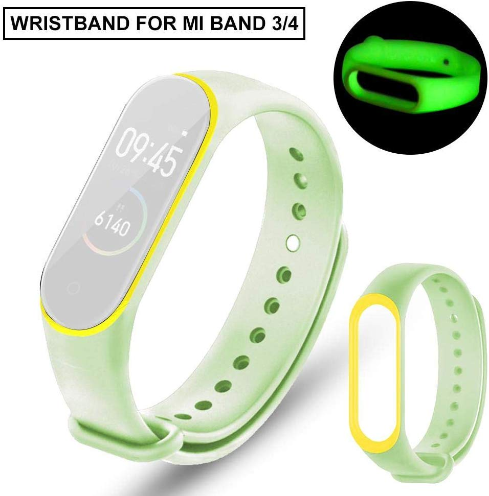 For Xiaomi Mi Band 3 4 Luminous Bracelet Sport Strap Watch Silicone Wrist Strap For Xiaomi Mi Band 3 4 Bracelet Miband 4 3 Strap