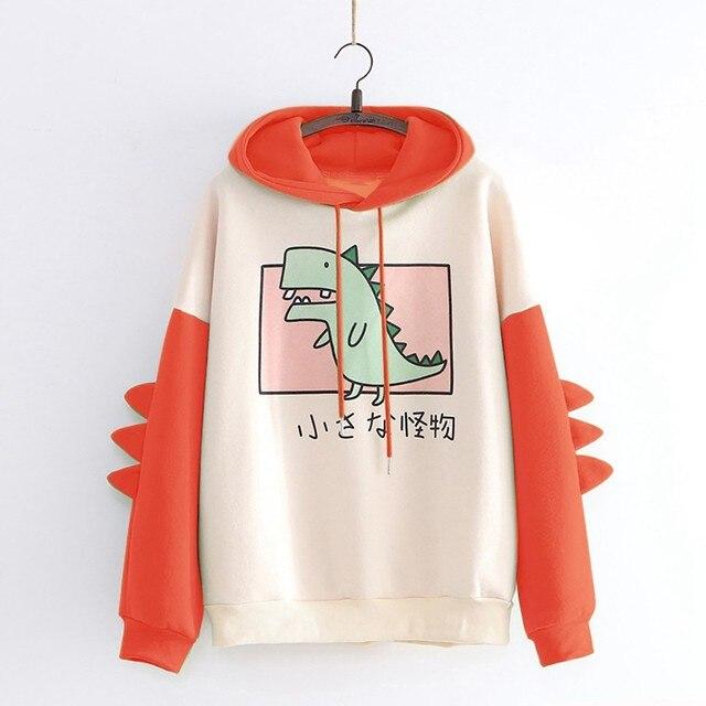 Hoodies Women Fashion Splice Dinosaur Print Sweatshirt Tops Casual Long Sleeve Harajuku Clothes ropa mujer толстовка женская 3
