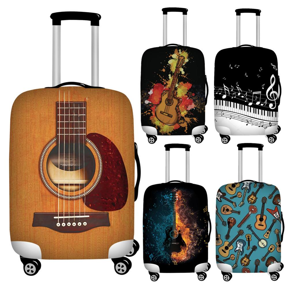 Twoheartsgirl Designer Guitar Music Notes Luggage Protective Dust Covers Waterproof 18''-32'' Travel Suitcase Covers Foldable