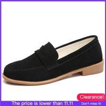 O16U chaussures de printemps pour femmes, chaussures classiques en cuir suédé, O16U, chaussures plates, mignon sans lacet