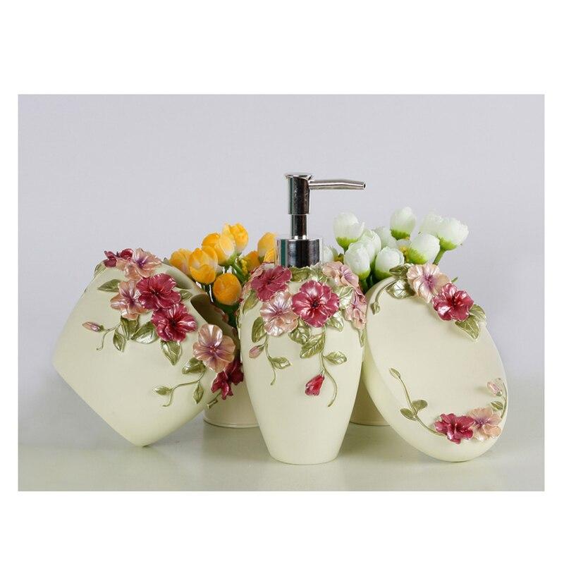 Style campagnard résine 5 pièces ensemble d'accessoires de salle de bain distributeur de savon/porte-brosse à dents/gobelet/porte-savon (vert) - 2