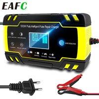Cargador de batería de coche con pantalla táctil LCD, reparación de pulso, carga rápida, húmedo, seco, plomo ácido, pantalla LCD Digital, enchufe de la UE, 12/24V, 8A