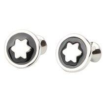 Avrupa ve amerika sıcak satış iş resmi giysi köşeli yıldız kol düğmeleri siyah ve beyaz desen dokulu yağ damla daire M