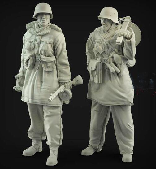 New 1/35 Resin Figure German Gunner Soldier 2pcs/set Model Kits