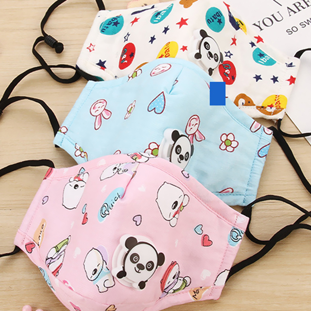 PM2.5 Washable Children Mouth Mask Flu Respiratory Valve Cartoon Thicken Smog Mask Warm Dust Mask Fits 2-10 Years Old Kid Muffle 4