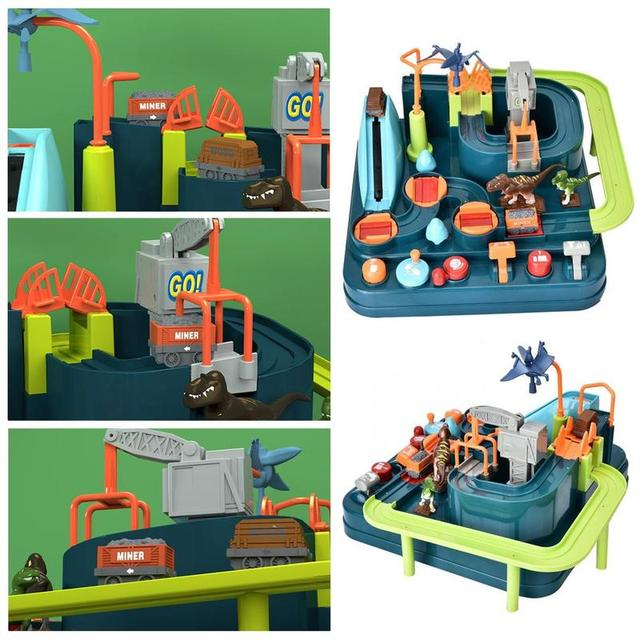 2019 Dinosaur Party Car Adventure Toy Set Track Elevator Race Hand-eye Coordination Puzzle Toy Kids Birthday Gift Christmas Gift 4