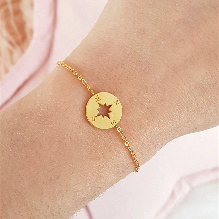 Geeks Journey Compass Charms Bracelets For Women Men Jewelry Minimalist Stainless Steel Rose Gold Filled Round Bracelet Femme