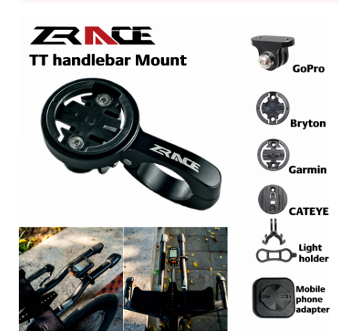 ZRACE TT Handlebar Computer mount - Black, Out front Mount Holder for iGPSPORT Garmin Bryton GoPro CATEYE Camera image
