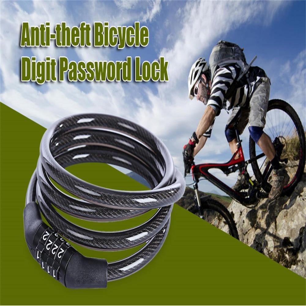BianchiPatricia Bicycle Lock Mountain Bike 4-Digit Code Lock Chain Lock Electric Cable Lock