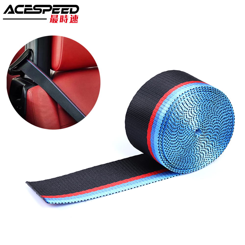 2inch Seat Belt M Style Strip Racing Harness Ribbon Auto Safety Webbing Blue Red For BMW e36 e46 e90 e39 Lenght 3.8 Meter/roll image