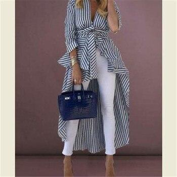 Plus Size Women Boho Stripe Print Shirt Long Sleeve Tops Tee Loose Tops Tunic Shirt Hippie Top Ruffle Long Fashion Elegant Shirt