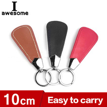 Shoehorn Metal Stainless-Steel Black 10cm Mini Key-Ring Easy-Carry Faux-Leather Durable