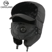 Bomber-Hats Faux-Fur Russia Warm Winter Women Male Waterproof CAMOLAND Snow-Skiing-Caps