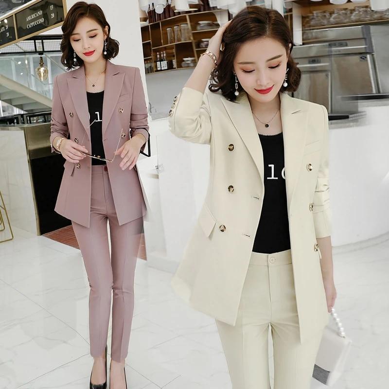 New Women Suit Jacket Female College Interview Suit Fashion Overalls Ol Womens Suits Set 2 Piece Pant Suits For Women Blazer Set Pant Suits Aliexpress