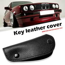 Key Case Litchi Synthetic Leather Key Fob Cover for BMW E36 E46 E39 E60 E61 E53 Foreign Trade Style Sleek Minimalist(China)