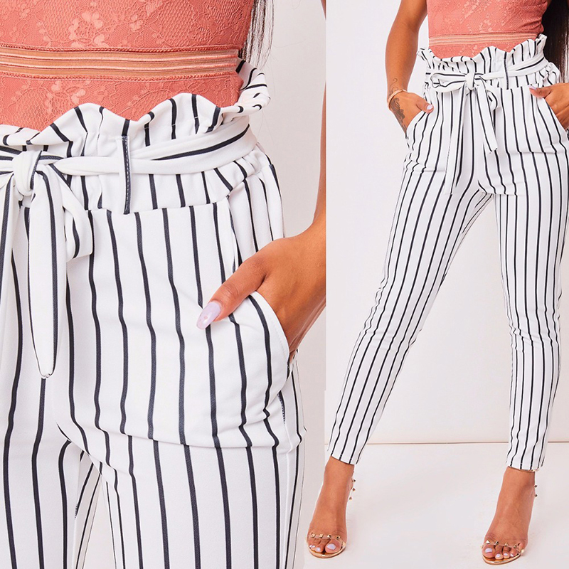 Women\'s Casual Pants High Waist Fashion White Striped Print Skinny Trousers Cropped Street Wear Harem Pants Multi Color